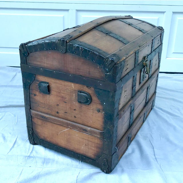 1850's Gothic Rounded Top Wooden Trunk For Sale - Image 4 of 8