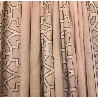 One Pair Blushing Beige Colefax & Fowler Designer Linen Curtains Drapes Drapery 1 of 2 Pair Available For Sale