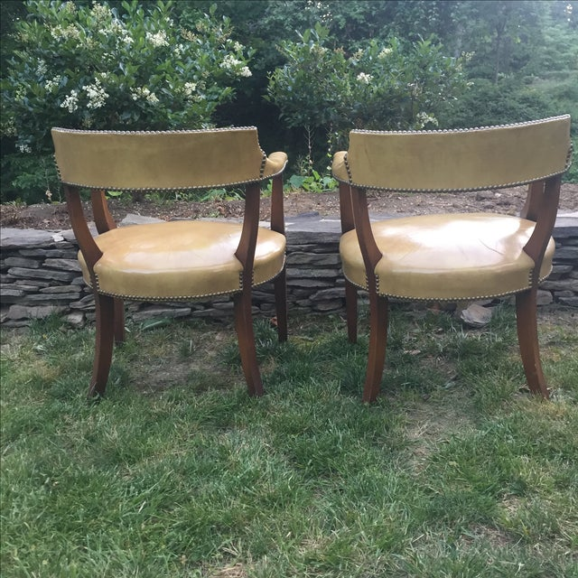 Vintage Hickory Leather Library Chairs - A Pair For Sale - Image 5 of 11