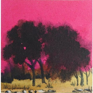 Hot Pink Sunset Mini Painting For Sale