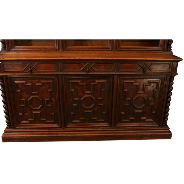 Antique French Hunt-Style Bookcase & Buffet - Image 5 of 8