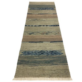 Rug & Relic Yeni Kilim in Ice Blue and Sea Green | 1'10 X 5'1 For Sale