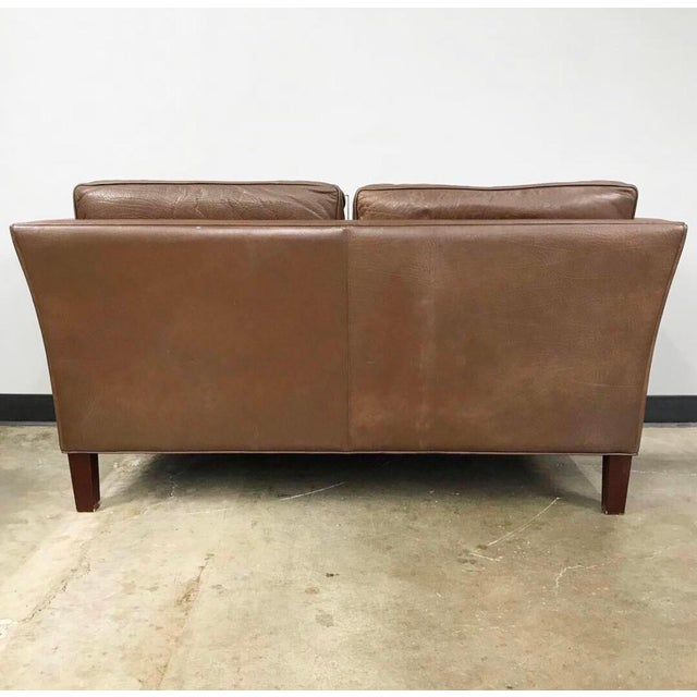 Danish Modern Leather Loveseat in the Style of Børge Mogensen For Sale - Image 10 of 12