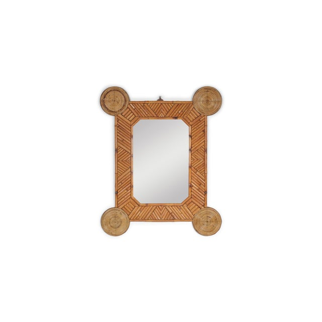 1970s Bamboo and Rattan Mirror by Arpex For Sale - Image 9 of 9
