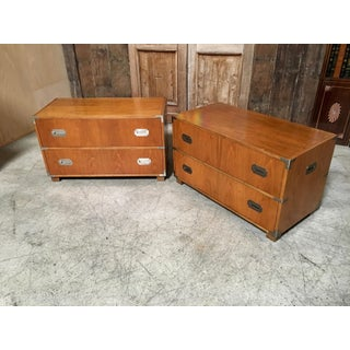 20th Century Campaign Baker Furniture Two-Drawer Dresser Cabinets - a Pair Preview
