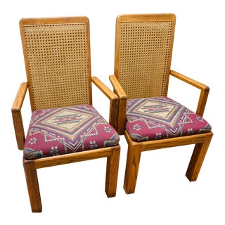 Mid-Century Lou Hodges Style Tall Cane Back Chairs- A Pair For Sale