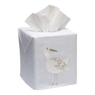 Cream Sand Piper Tissue Box Cover in White Linen & Cotton, Embroidered For Sale