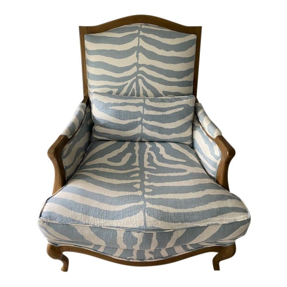 Henredon Club Chair With Cross Pattern Back For Sale