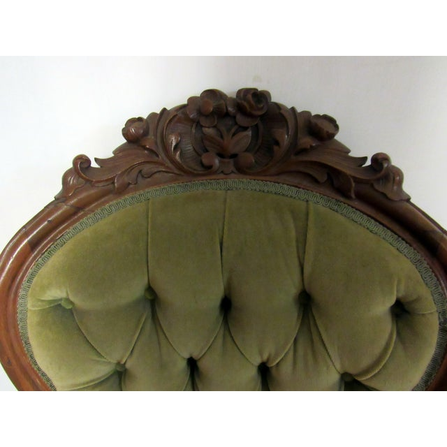 Textile Victorian Chair With Green Velvet Upholstery For Sale - Image 7 of 11