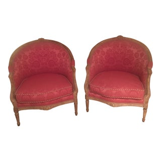 French Custom Barrel Chairs - A Pair For Sale