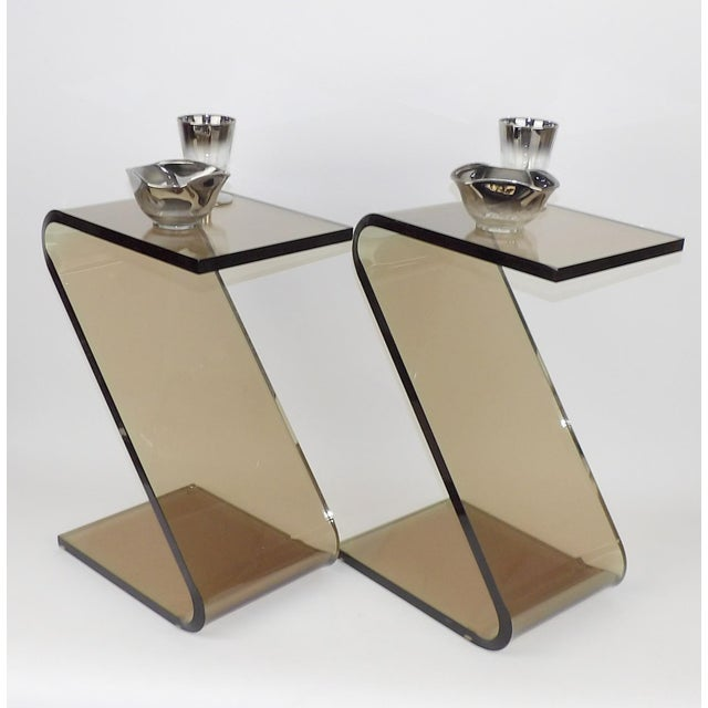"""Brown Shlomi Haziza Acrylic Bent Lexan Lucite """"Z"""" End Tables / Nightstands - a Pair For Sale - Image 8 of 12"""