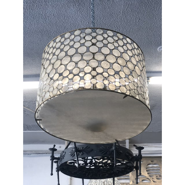 Mid-Century Modern Mid-Century Modern Style Capíz Shell Chandelier For Sale - Image 3 of 8