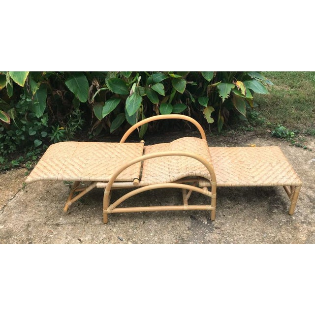 1960s Vintage Rattan Bamboo Adjustable Chaise Lounge Chair For Sale - Image 5 of 10