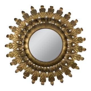 Round Gilt Iron Sunburst Mirror With Leaf Frame For Sale