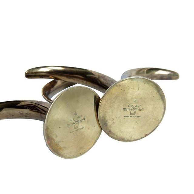 1940s Mid Century Swedish Brass Candlesticks - a Pair For Sale - Image 5 of 7