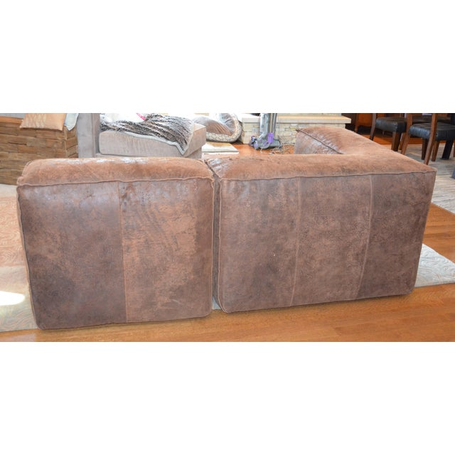 Modern Restoration Hardware Distressed Leather Sectional with Left Chaise + One Armchair For Sale In Chicago - Image 6 of 12