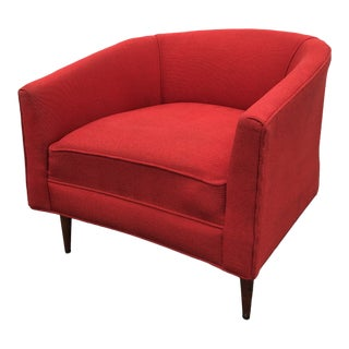 Mid Century Bloomingdale Bros Red Upholstered Barrel Chair For Sale