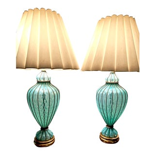 1950s Marbro Murano Blue Opaline Quilted Lamps - a Pair For Sale