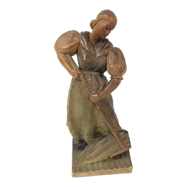 Art Deco Carved Wood Sculpture of Woman With Rake For Sale