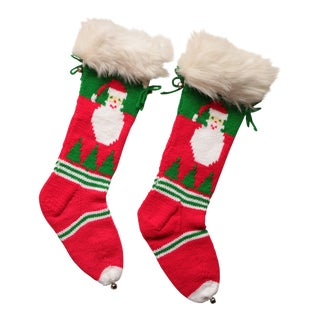 Vintage Hand-Knit Santa & Reindeer Stockings - A Pair For Sale