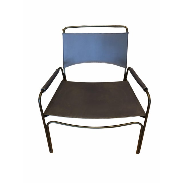 2000 - 2009 Modern Trace Leather Lounge Chair by m.a.d. Furniture For Sale - Image 5 of 8