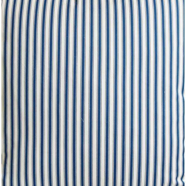 """French Blue & White Feather/Down Ticking Striped Pillows 23"""" Square - Pair For Sale - Image 4 of 13"""