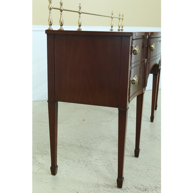 Brown Kindel Oxford Mahogany Federal Sideboard W. Brass Gallery For Sale - Image 8 of 13