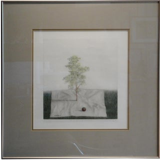 "1983 ""Tree on White Handkerchief"" Drawing by K.B. (Kyu-Baik) Hwang For Sale"