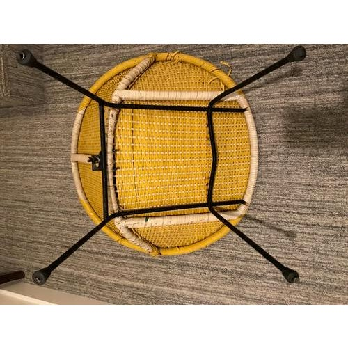 Vintage Mid-Century Atomic Vinyl Yellow Basket Chair For Sale - Image 4 of 13