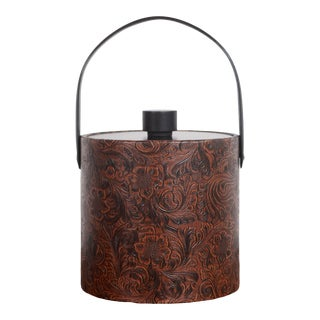 Vintage Mid Century Faux Tooled Leather Ice Bucket For Sale