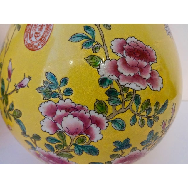 Yellow Famille Jaune Vases- A Pair For Sale - Image 7 of 7