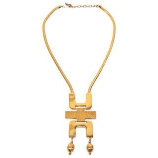 Mod 1970's Tortolani Gold Plated Modernist Articulated Pendant Necklace For Sale