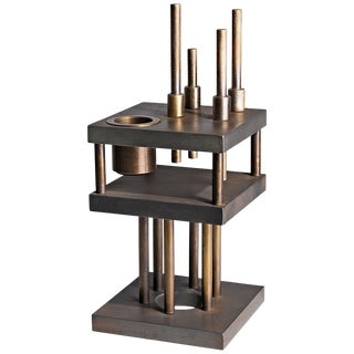"Unique Steel and Brass Candleholder ""Brut"", Signed by Lukas Friedrich For Sale"