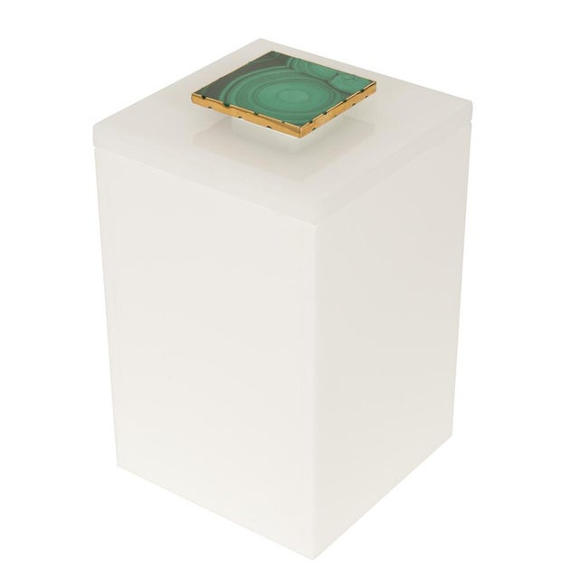 Tall White Box With Malachite Top - Medium - Image 1 of 3