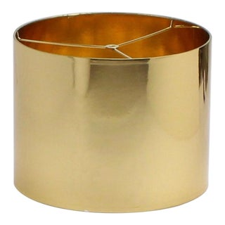 Small High Gloss Gold Drum Lampshade For Sale