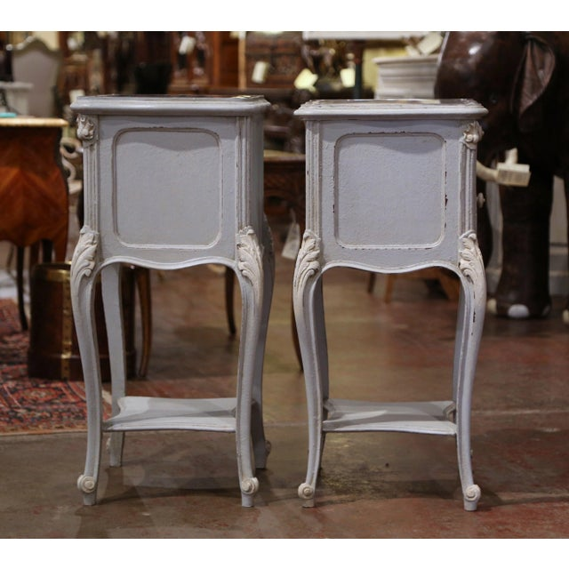 Pair of 19th Century French Louis XV Carved Painted Nightstands With Marble Top For Sale - Image 10 of 12