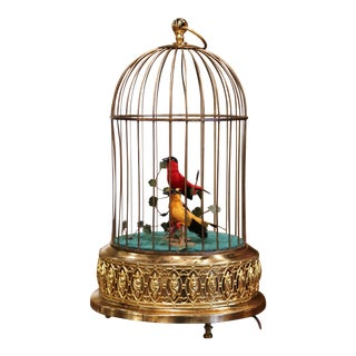 Late 20th Century Swiss Automaton Brass Cage With Two Moving Birds For Sale