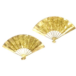 Solid Brass Asian Chinoiserie Fans - A Pair