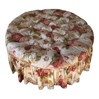 Floral Round Tufted Skirted Ottoman For Sale