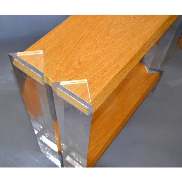 Transparent Italian Mid-Century Modern Oak & Acrylic Two Tier Console Table Bookshelf, 1960s For Sale - Image 8 of 13
