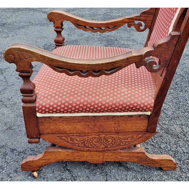 19th C Victorian American Upholstered Carved Oak Rocking Chair For Sale In New York - Image 6 of 10
