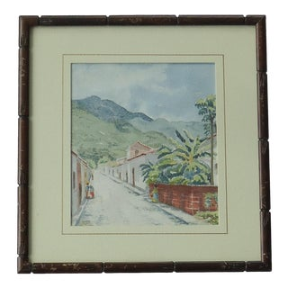 1940s South American Village Mountain Scene Watercolor Painting For Sale