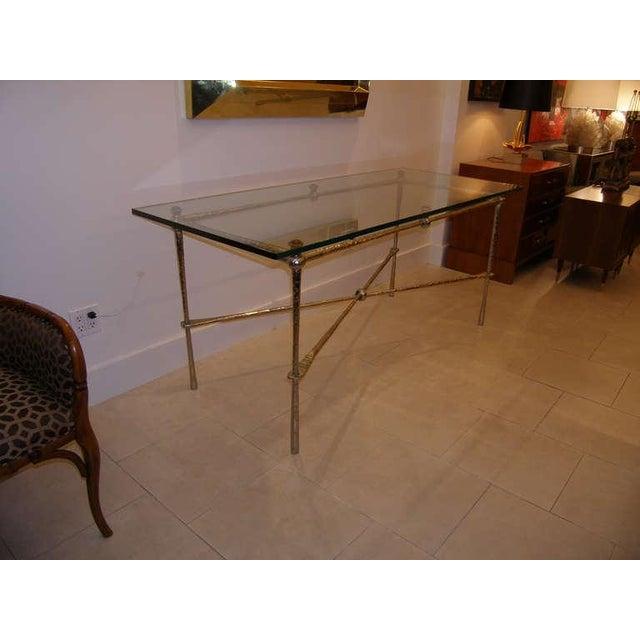 French French Nickel Over Cast Bronze Dining Table/Desk For Sale - Image 3 of 7
