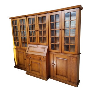 1930s French Country Maple Storage Bookcases Desk