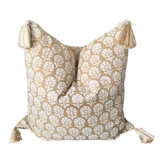 Custom Madeline Weinrib Floral Block Print Throw Pillow With Two-Tone Tassels For Sale