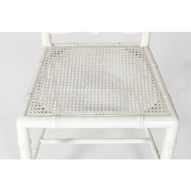 White Painted Faux Bamboo Side Chair - Image 5 of 8