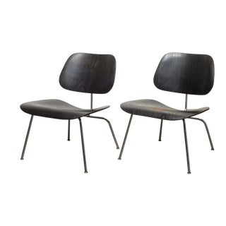 Pair of Eames for Herman Miller Lcm Chairs in Black C.1950 For Sale