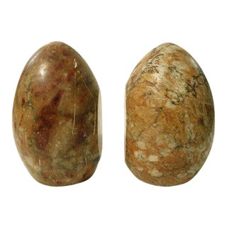 1960s Organic Modern Polished Stone Egg Book Ends - a Pair For Sale