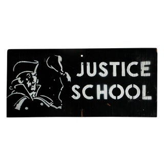Vintage Wooden Justice School Law School Sign for Law Office Decor