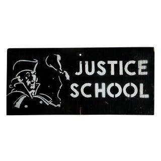 Vintage Wooden Justice School Sign